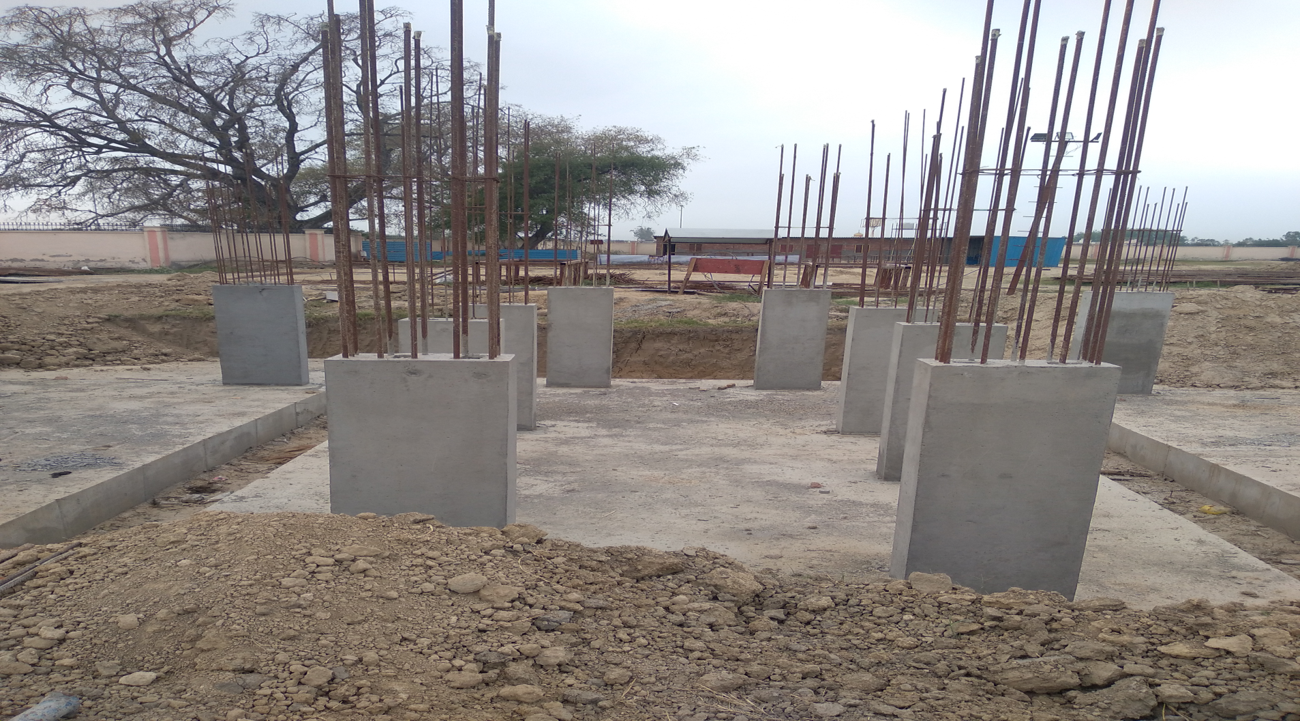 Hostel Block H4 – column casting work in Completed 05.04.2021