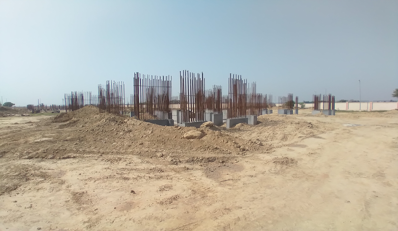 Non Teaching Staff Residence –  steel work in progress shear wall casting work in progress 30.03.2021
