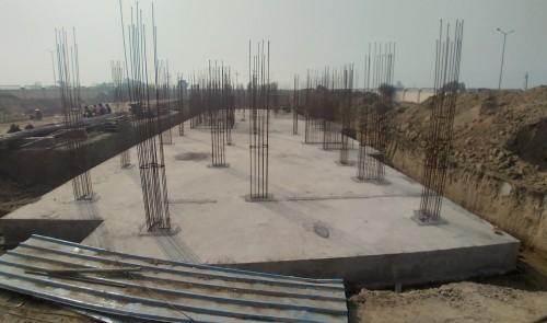 Professor's residence – Raft RCC work Completed column layout in progress 01.02.2021