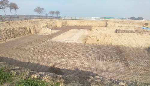 AUDITORIUM  –  Footing PCC work  in completed steel work in progress 23.02.2021