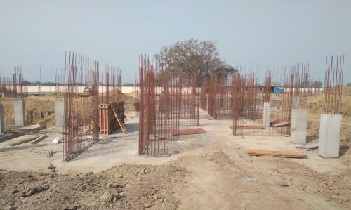 Hostel Block H3 – Raft RCC work completed column casting work in progress 09.03.2021