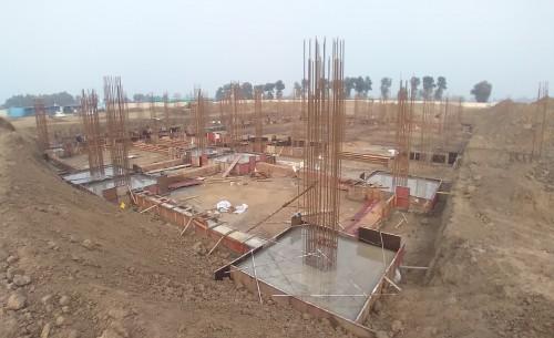 Dinning block – Footing steel work in progress, RCC Footing work in progress 05.01.2021