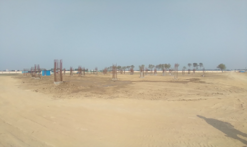 Dinning block – column casting work in completed soil filling work in progress 09.03.2021