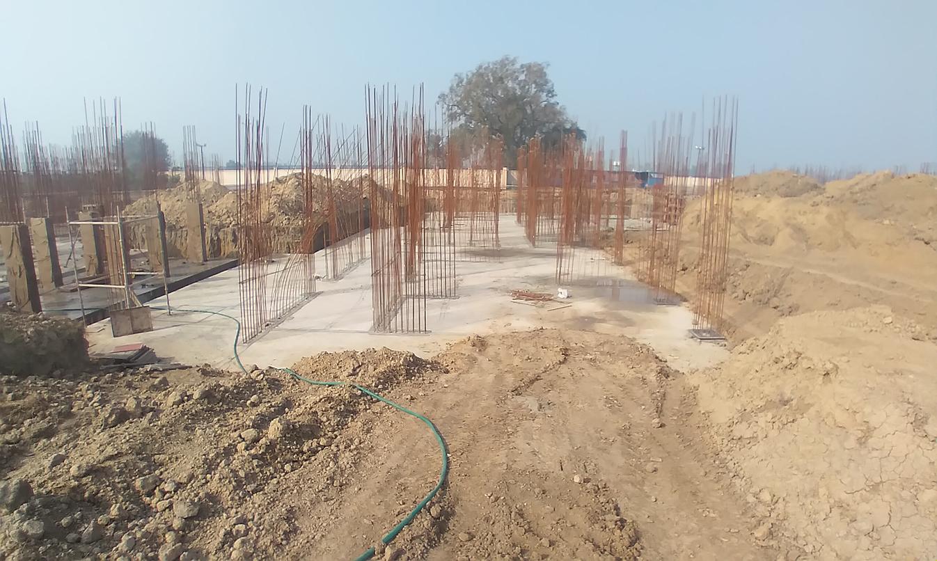 Hostel Block H3 – Raft RCC work completed layout work in progress 08.02.2021