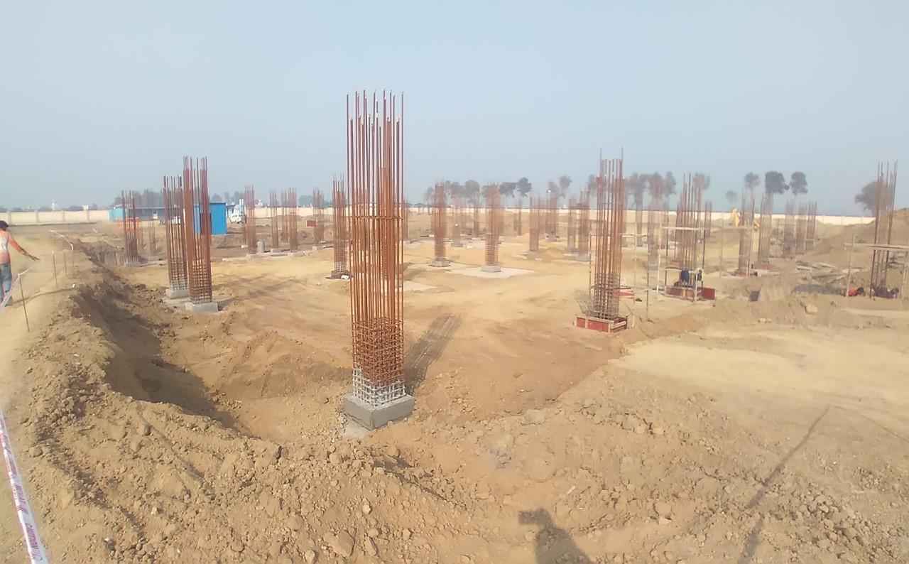 Dinning block – column steel work in progress, RCC Footing work in Completed 01.02.2021