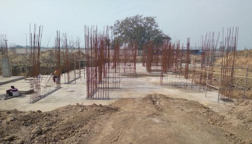 Hostel Block H3 – Raft RCC work completed layout work in progress 23.02.2021