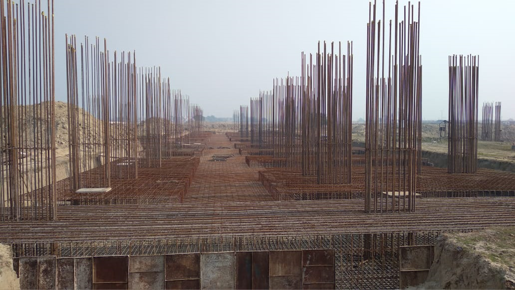 Faculty & Admin BlockFaculty & Admin block –  Raft steel placing in progress 25.01.2021