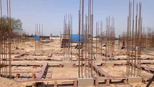 Hostel Block H6 - Soil filling work in completed grade slab beam shuttering work in progress 17.05.2021