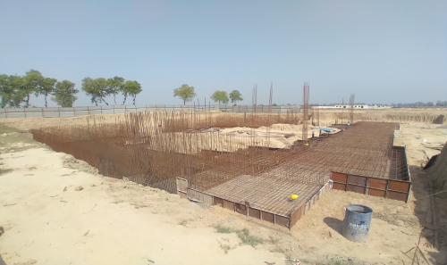 AUDITORIUM  –  Footing PCC work  in completed steel work in progress 30.03.2021