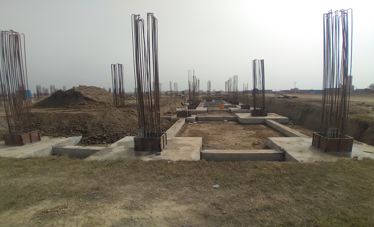 CAFETERIA & SHOPPING - RCC Footing  work completed steel work in progress 15.03.2021