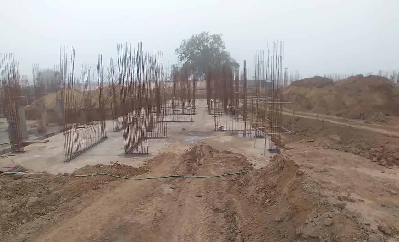 Hostel Block H3 – Raft RCC work completed layout work in progress 16.02.2021