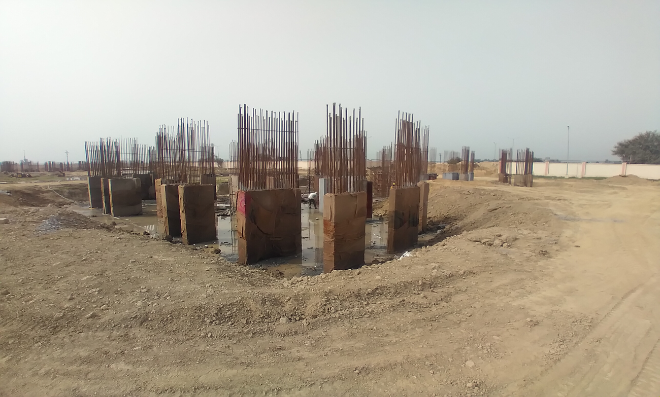 Non Teaching Staff Residence –  steel work in progress shear wall casting work in progress 15.03.2021