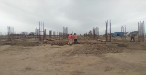 Academic block – 2nd pit soil filling work in completed grid slab works in progress 05.04.2021