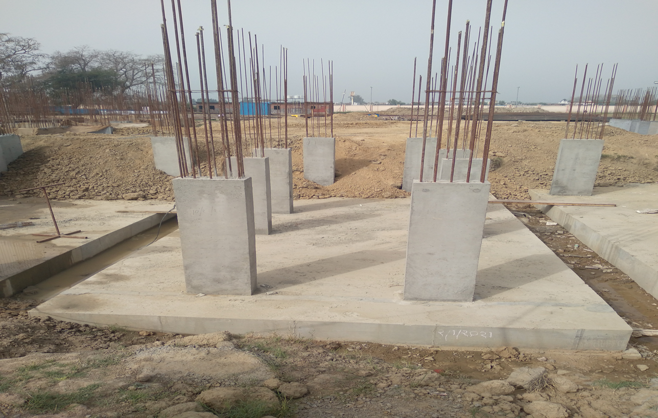 Hostel Block H6 – Raft RCC work Completed column casting work in completed 15.03.2021