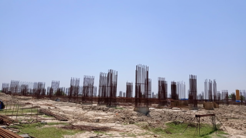 Faculty & Admin BlockFaculty & Admin block –  soil filling work in completed grade slab works in progress 24.05.2021