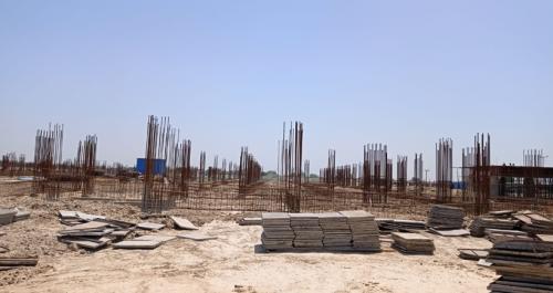 Academic block – 1st pit soil filling work in completed grade slab work in progress 24.05.2021