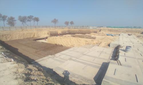 AUDITORIUM  –  Footing PCC work  in completed steel work in progress 01.03.2021