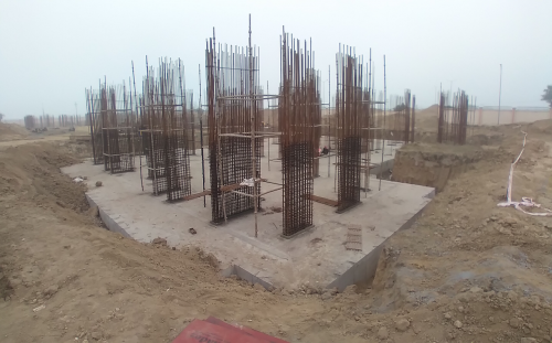 Non Teaching Staff Residence –  Raft RCC work Completed layout in progress 16.02.2021