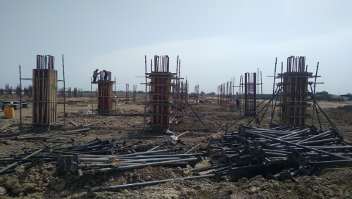 CAFETERIA & SHOPPING - RCC Footing  work completed steel work in progress column casting work in progress 12.04.2021