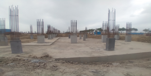 Academic block – 1st pit Column casting work in completed & soil filling work in progress 05.04.2021