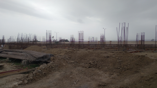 Professor's residence – Raft RCC work Completed column casting work in completed soil filling work in completed 05.04.2021