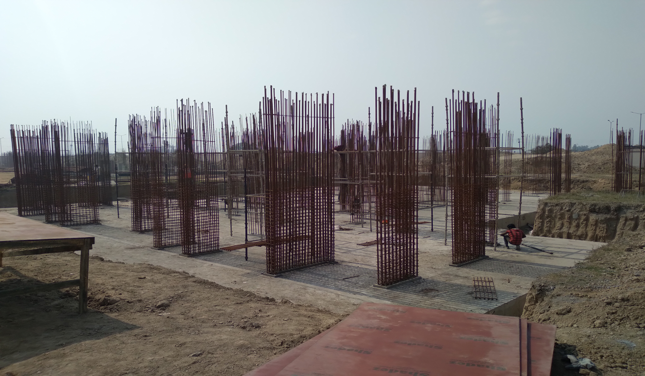 Non Teaching Staff Residence –  Raft RCC work Completed layout in progress steel work in progress 23.02.2021