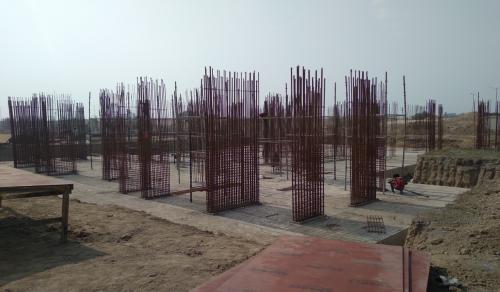 Non Teaching Staff Residence –  Raft RCC work Completed layout in progress steel work in progress 23.02.2021