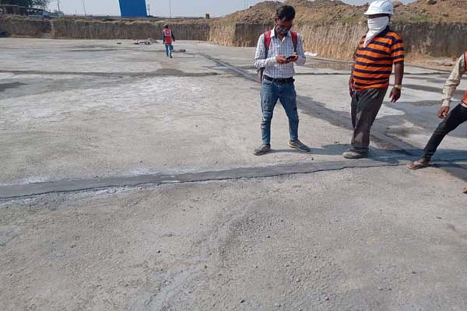 Hostel Block H5 – Layout over PCC for steel placing & binding in progress (31-10-2020)
