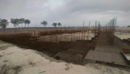 AUDITORIUM  –  Footing PCC work  in completed steel work in progress 05.04.2021