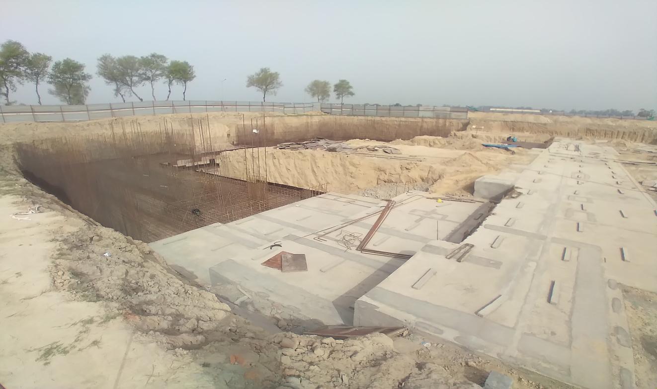 AUDITORIUM  –  Footing PCC work  in completed steel work in progress 15.03.2021