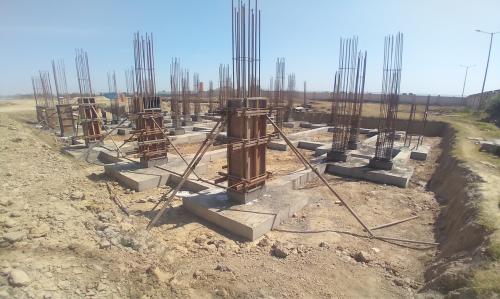 COMMUNITY CENTER – column casting works in progress  layout work in progress 19.04.2021