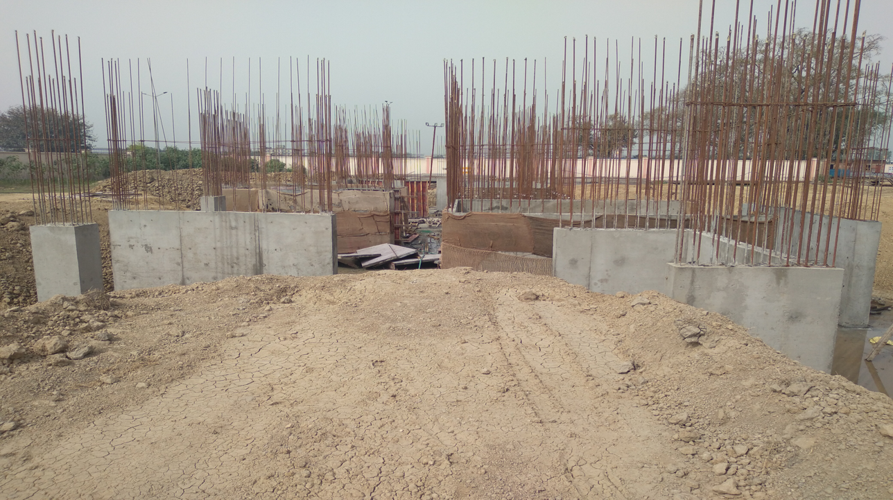 Hostel Block H1 – layout work in completed column casting work in progress 15.03.2021