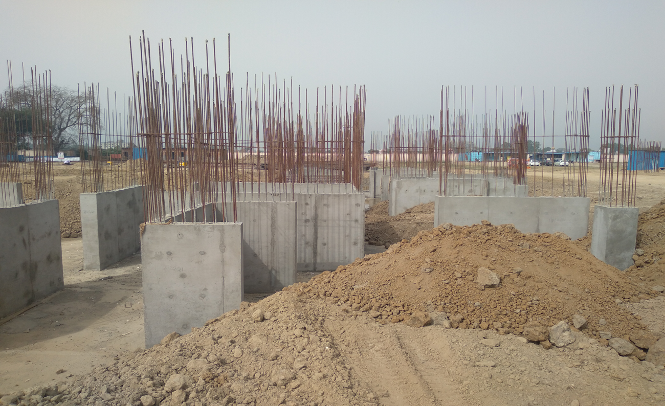 Hostel Block H7- Raft RCC column casting &shear wall work in completed 15.03.2021