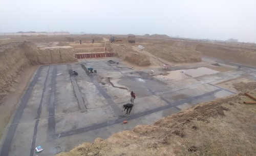 AUDITORIUM  –  Footing PCC work  in progress - (14-12-2020).