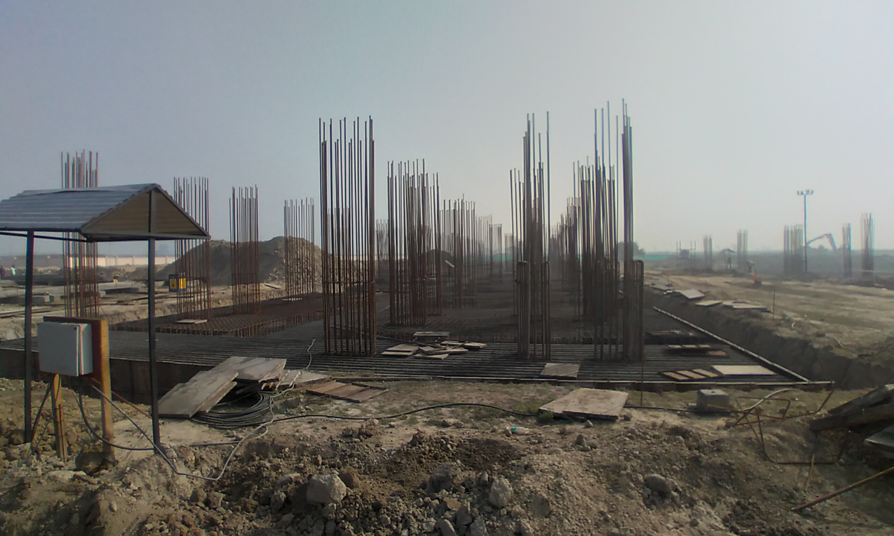Faculty & Admin block –  Raft steel placing in progress 08.02.2021