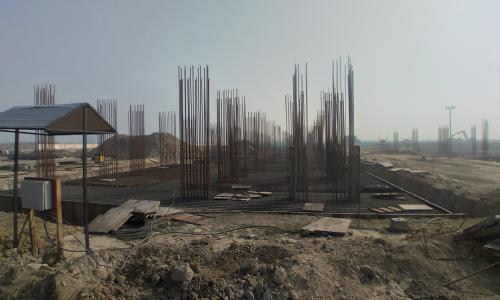 Faculty & Admin block –  Raft steel placing in progress 08.02.2021
