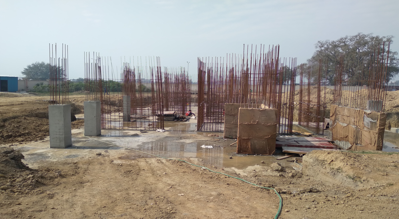 Hostel Block H1 – layout work in completed column casting work in progress 23.02.2021