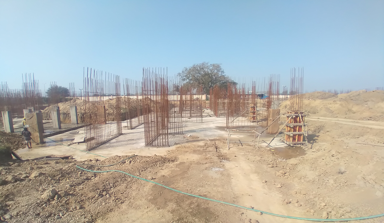 Hostel Block H3 – Raft RCC work completed column casting work in progress 01.03.2021