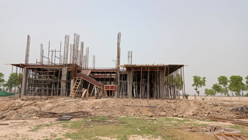 Director's residence – Column casting  work in completed slab shuttering work in progress 04.05.2021
