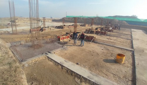 SPORTS COMPLEX – Footing steel work in progress, RCC done for 10 nos. (21.12.2020)