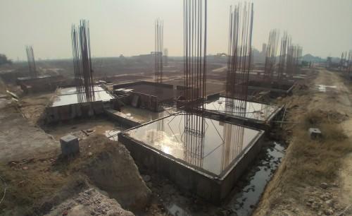 LIBRARY- footing steel work in progress & Footing RCC work in progress 08.02.2021