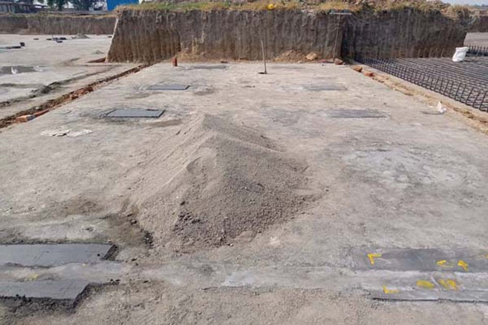 Hostel Block H6 – Layout over PCC for steel placing & binding in progress (31-10-2020)