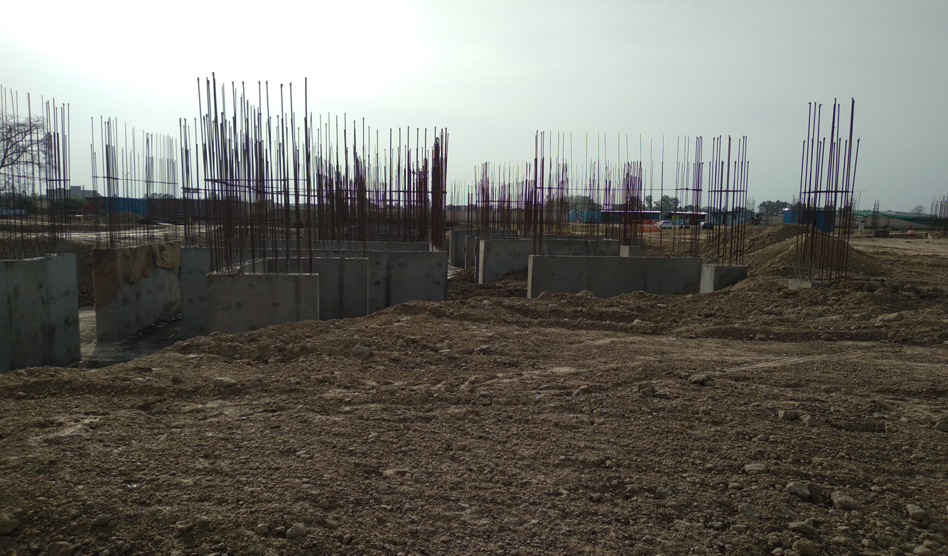 Hostel Block H7- Raft RCC column casting &shear wall work in completed 22.03.2021