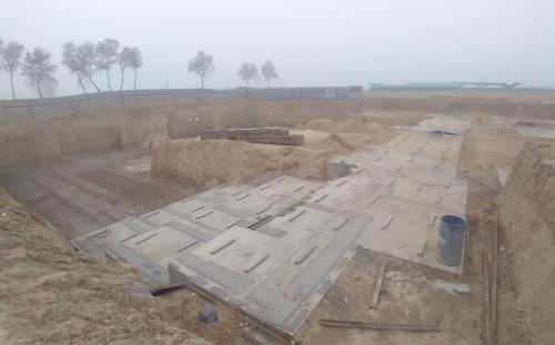 AUDITORIUM  –  Footing PCC work  in completed steel work in progress 16.02.2021