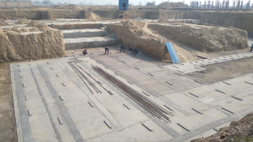 AUDITORIUM  –  Footing PCC work  in completed  steel work in progress 25.01.2021