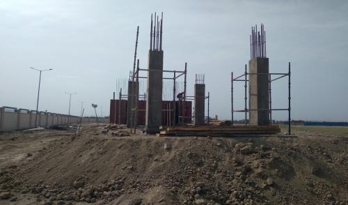 WAITING ROOM - Grade slab shuttering work in progress column casting work in completed 12.04.2021