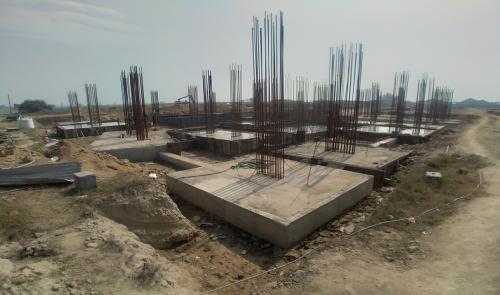 LIBRARY- footing steel work in progress & Footing RCC work in progress 23.02.2021