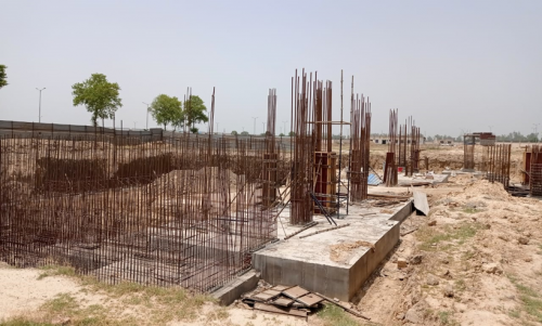 AUDITORIUM  –  RCC raft work  in completed RCC Wall casting work in progress 31.05.2021