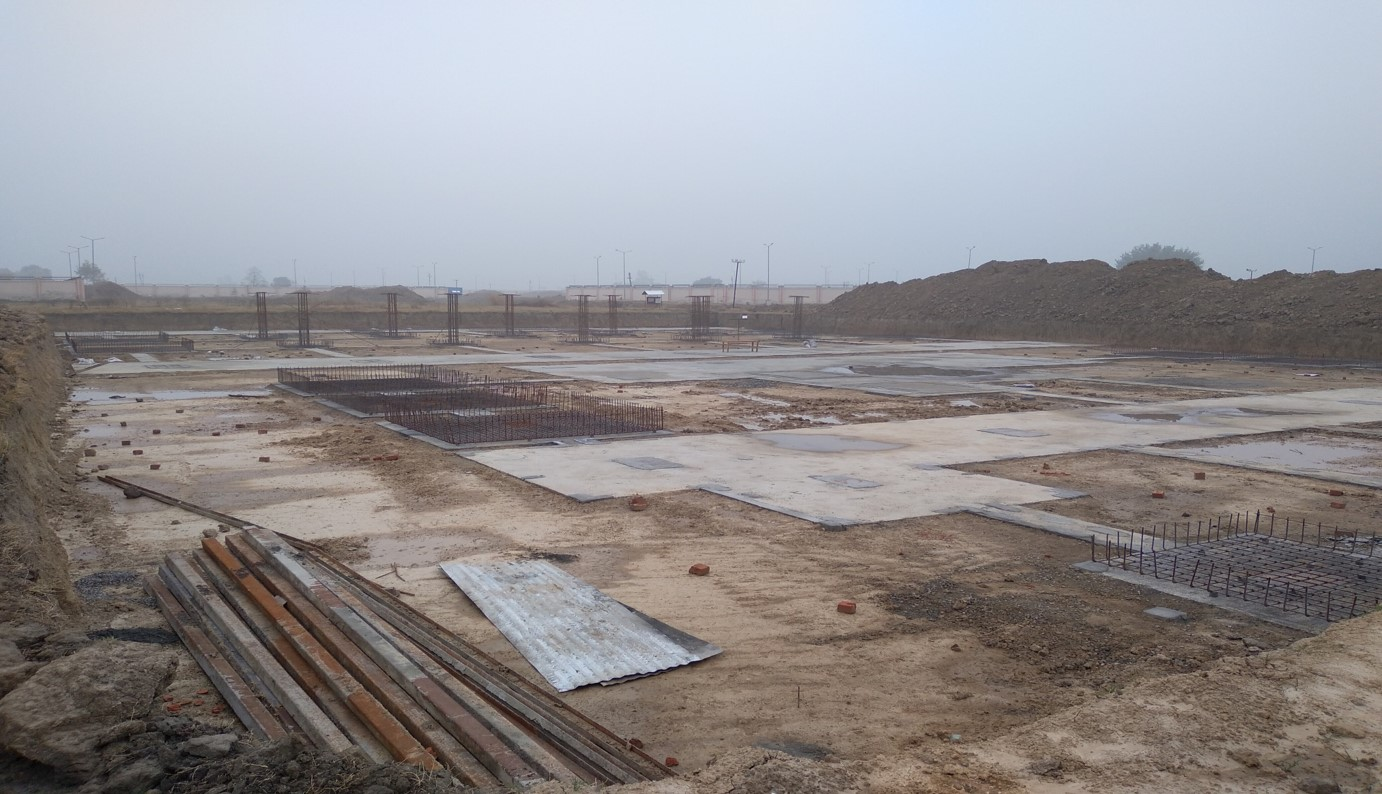SPORTS COMPLEX – Footing layout work completed & steel work in progress - (14-12-2020)