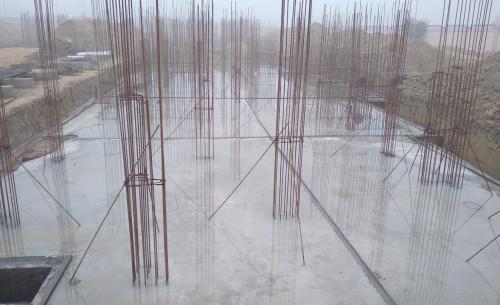 Professor's residence – Raft RCC work Completed column layout in progress 18.01.2021